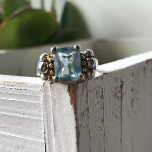 Jewelry - Sterling silver 925 emerald cut aquamarine ring 7